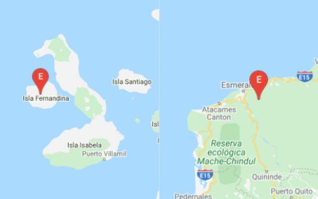 Dos sismos de 3,42 y 3,24 se registraron esta mañana en la Isla Fernandina y uno de 4,15 en Esmeraldas. Foto: Instituto Geofísico.