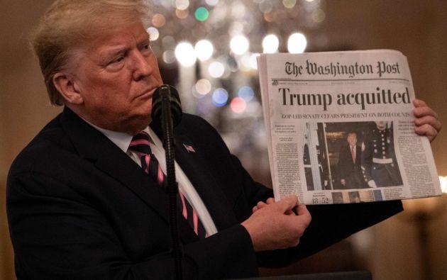 El mandatario estadounidense fue absuelto este miércoles en su juicio político. Foto: AFP