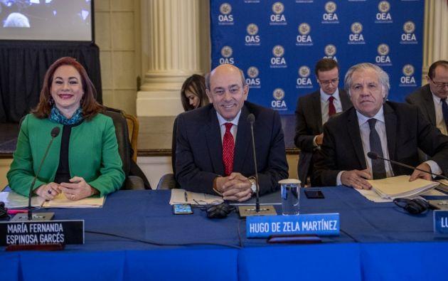 Almagro tiene dos rivales: la excanciller ecuatoriana María Fernanda Espinosa, que fue presidenta de la la Asamblea General de la ONU, y el peruano Hugo de Zela, un avezado diplomático. Foto: AFP