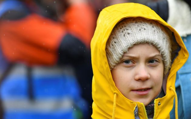 Activista Greta Thunberg durante protesta de crisis climática. Foto: Reuters.