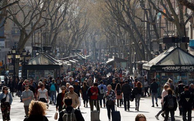 Las Ramblas, Barcelona antes del brote del coronavirus. Foto:Reuters.