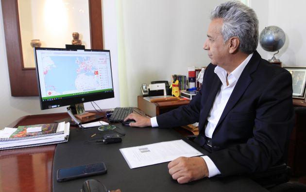 El presidente de la República, Lenín Moreno, mostró cifras de los movimientos de contagiados a través de un ecosistema digital.