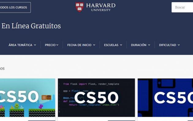 Página de la Universidad de Harvard. Foto: Reuters.
