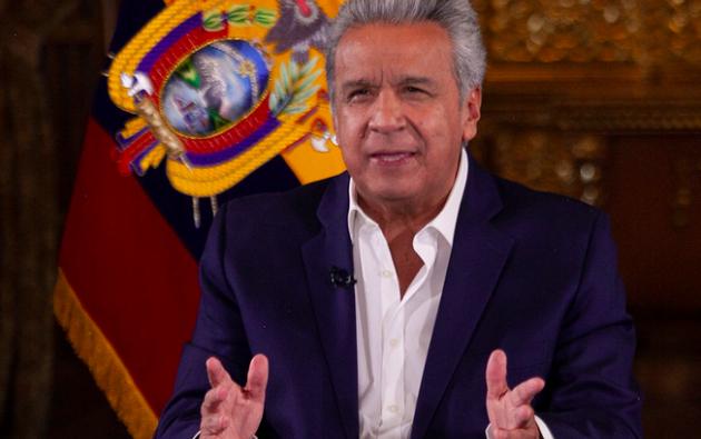 El presidente Lenín Moreno justificó las medidas económicas tomadas, y ha alentado a una pronta aprobación en el Legislativo de las mismas. Foto: Presidencia.