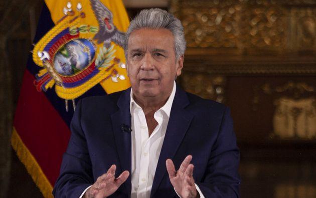 El presidente Lenín Moreno explicó en cadena cómo funcionará el semáforo a partir del 4 de mayo. Foto: Presidencia.