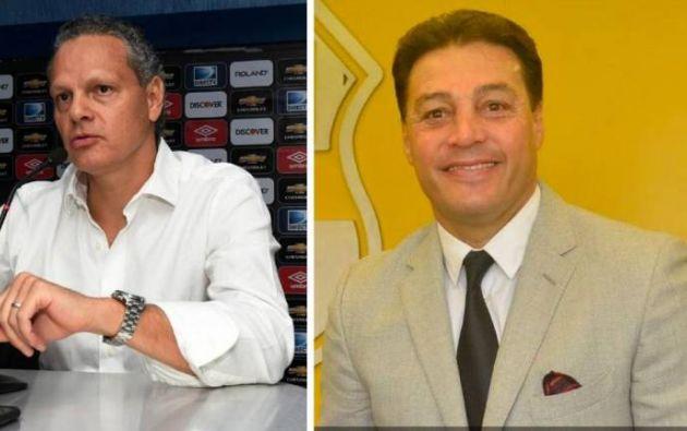 Los máximos representantes de Liga, Esteban Paz (izquierda), y Barcelona, Carlos Alfaro Moreno (derecha) son producto del conflicto de intereses dentro de la FEF por decidir quien se queda con la presidencia.
