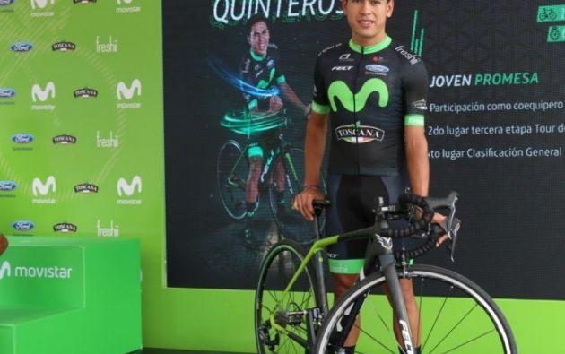 Ciclista ecuatoriano Benjamín Quinteros. Foto: Twitter.