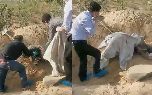 La mujer fue hallada con vida después de 72 horas de haber sido enterrada por su propio hijo. Él estuvo presente con las autoridades chinas cuando fue su madre sacada de la tumba que cavó.
