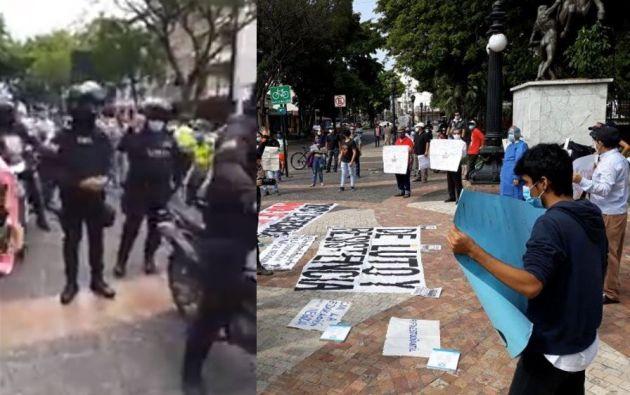La protesta, que fue convocada de forma pacífica y con medidas de distanciamiento social, dejó varios detenidos.