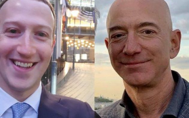 Los directores ejecutivos de Facebook, Mark Zuckerberg y Amazon, Jeff Bezos.