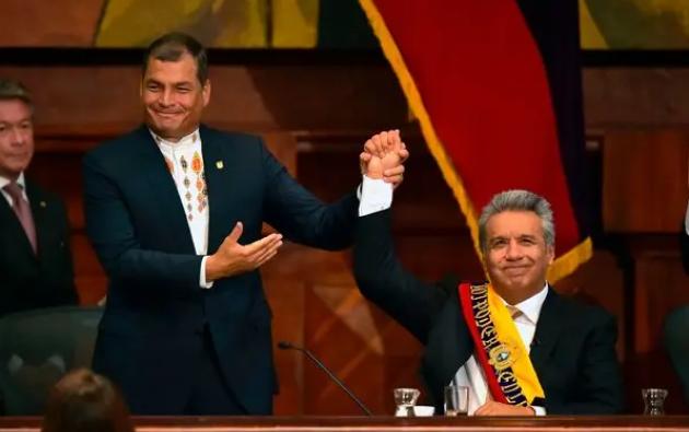 Foto tomada el 24 de mayo de 2017 cuando Rafael Correa cedió la Presidencia a Lenín Moreno. Foto: AFP.