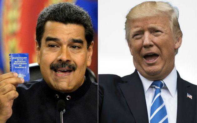 Presidente de Estados Unidos, Donald Trump y mandatario venezolano Nicolás Maduro. Foto: AFP.