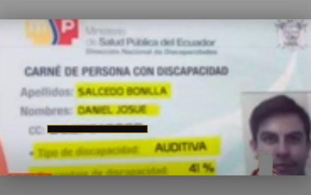 Salcedo sacó su carnet el 2 de febrero de 2018 en una unidad del Ministerio de Salud Pública (MSP) de Guayaquil.