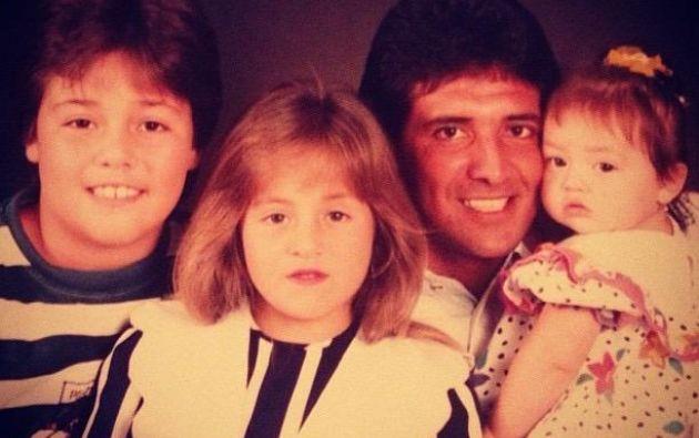 Con Luis Gabriel, Alejandra y Sandra, los tres hijos de su primer matrimonio.