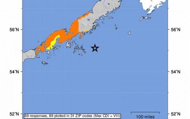 Un terremoto de magnitud 7.8 golpeó este martes por la noche a la Península de Alaska. Foto: EFE.