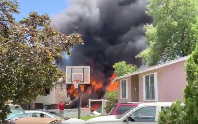 La casa de la mujer mayor fue la más afectada por el accidente. Foto: Captura de pantalla.