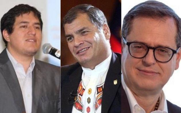 En la foto aparecen los posibles candidatos del correísmo: Andrés Arauz, Rafael Correa y Carlos Rabascall.