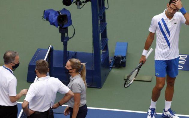 El tenista serbio, Novak Djokovic, fue descalificado del US Open, en Nueva York, el 6 de septiembre de 2020. Foto: EFE
