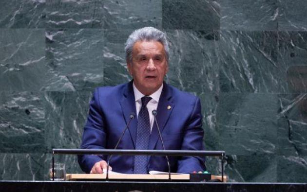 El presidente de Ecuador, Lenín Moreno, en la Asamblea General de la ONU  en Nueva York, EE. UU, 2019. Foto: EFE