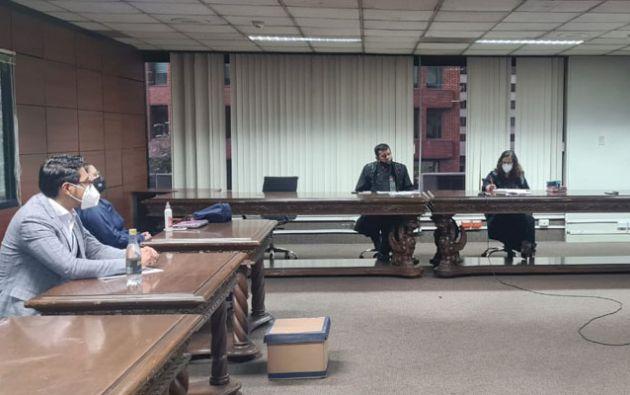 La audiencia de juzgamiento contra Vicente V., exjuez de la Corte Provincial de Azuay. Foto: Fiscalía.