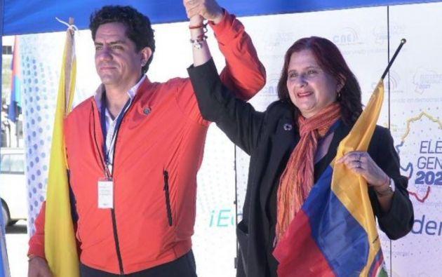 Binomio del movimiento político Izquierda Democrática, conformado por los candidatos Marcelo Xavier Hervas Mora y María Sara Jijón Calderón.