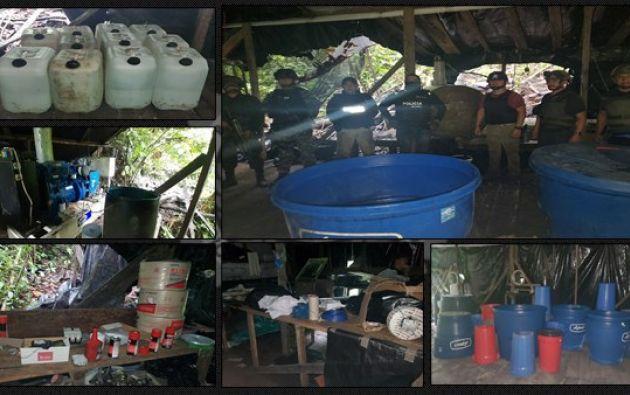 Entre las evidencias encontradas figuraban 2.000 litros de cocaína líquida. | Policía Nacional