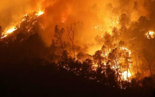 Los fuertes vientos dificultan la contención de los incendios en California (EE.UU.). Foto: EFE.