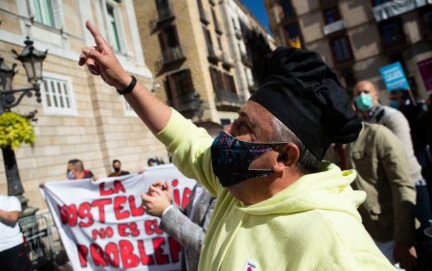 Comerciantes protestan en las calles de Barcelona. Foto: EFE