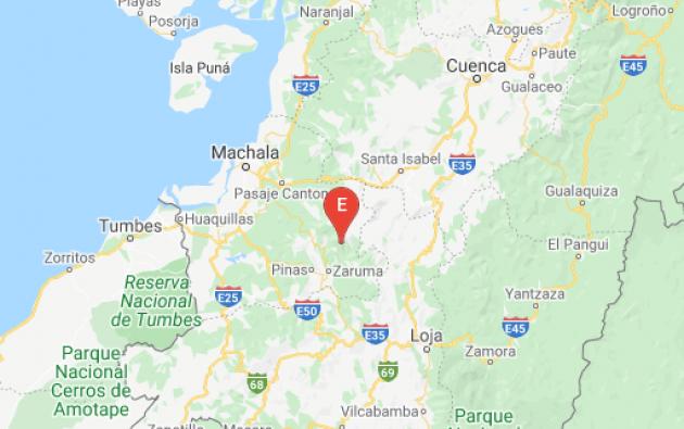 El temblor ocurrió a una profundidad de 56,07 kilómetros y a 13,51 kilómetros de Zaruma.