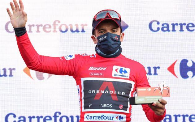 Richard Carapaz es líder de la Vuelta a España. Este martes inicia la última semana de competencia. Foto: EFE.