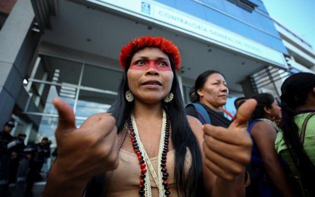 Nenquimo, líder de la nacionalidad indígena waorani, es una de las ganadoras este año del prestigioso Premio Medioambiental Goldman, por su contribución a la defensa de la naturaleza y los derechos ancestrales. Foto: EFE
