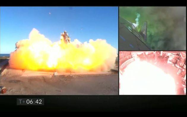 El cohete destruido era un modelo conocido como Starship de casi 50 metros de largo. Foto: EFE.
