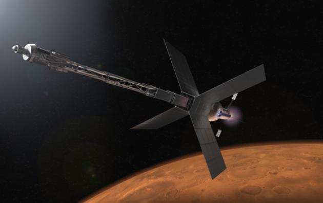 Ilustración de un puesto avanzado de tránsito con destino Marte y un sistema de propulsión nuclear que algún día podría llevar a los astronautas al Planeta Rojo | NASA