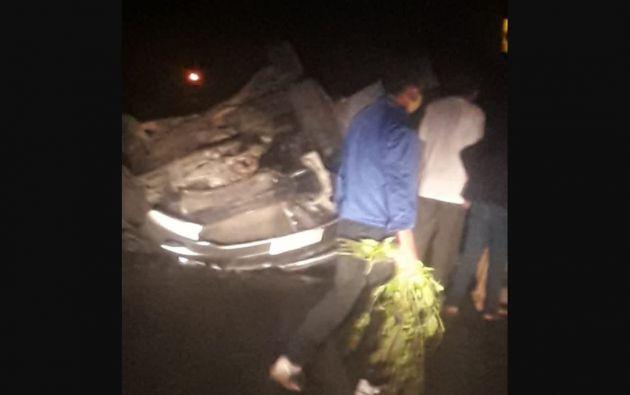 Siniestro de tránsito en el cantón San Miguel. Foto: ECU 911
