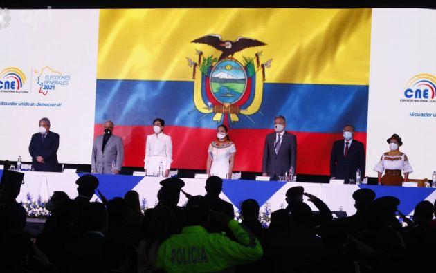 Ceremonia en la sede central del Consejo Nacional Electoral (CNE), en Quito. Foto: API