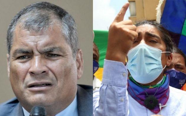 El expresidente Rafael Correa y el candidato presidencial Yaku Pérez.