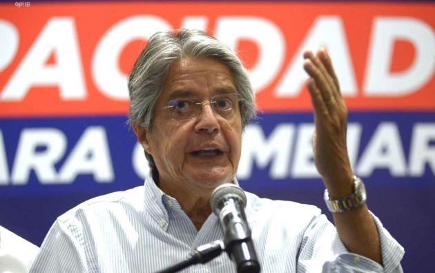 Candidato Guillermo Lasso en una rueda de prensa el 08 de febrero de 2021. Foto: API