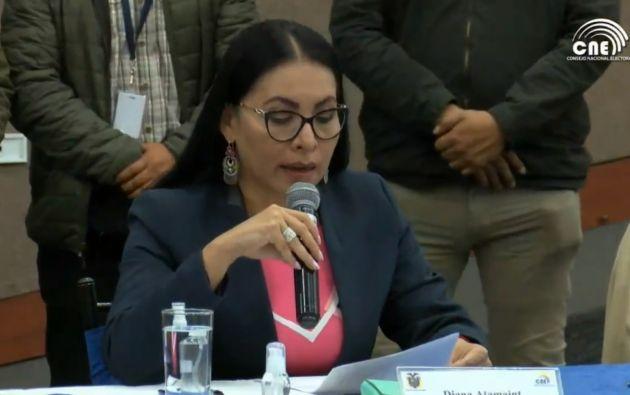La presidenta del CNE, Diana Atamaint, anunció cómo se desarrollará el recuento.  Foto: Captura