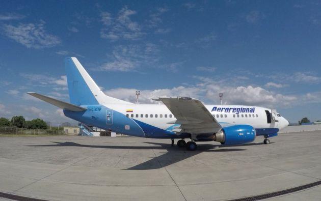 Este es el Boeing 737-5Y0 de Aeroregional que está retenido en Latacunga para investigaciones. Foto: @aereoregional