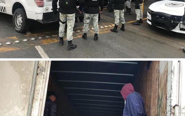 La Guardia Nacional de México interceptó un camión que se dirigía a la frontera estadounidense con 108 migrantes centroamericanos hacinados en su interior. Foto: EFE.