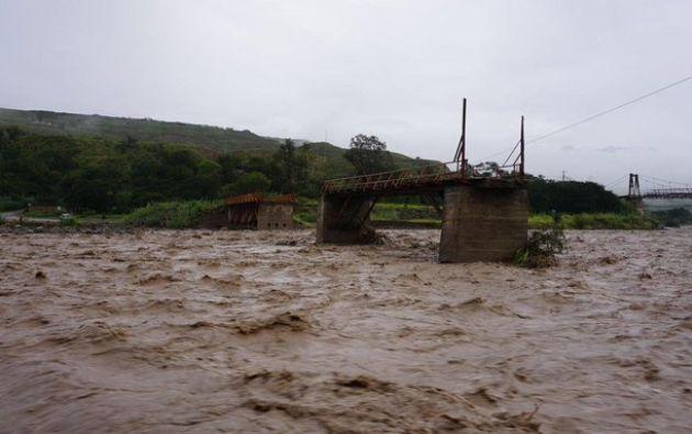 Las lluvias provocaron la crecida del río Rircary en Azuay.