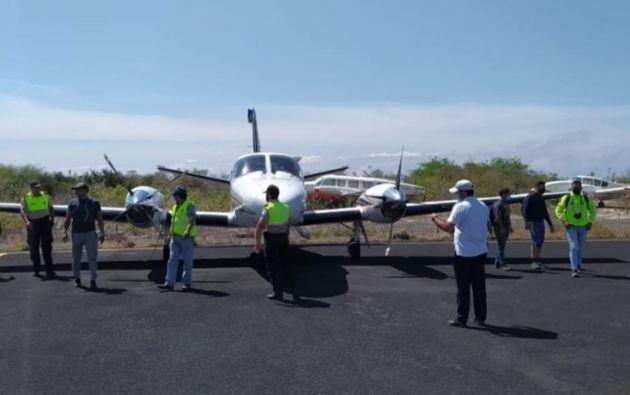 La aeronave permanecía en cadena de custodia de la Policía Judicial, en Galápagos. Foto: Cortesía