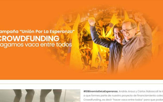 El crowdfunding habría permitido a Arauz recaudar $1 millón para la primera vuelta. Foto: Captura