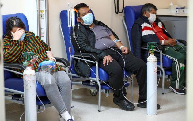 Vista de la unidad de emergencia con pacientes covid-19 del hospital Iess del Sur, el 29 de marzo del 2021, en Quito (Ecuador). EFE/José Jácome/Archivo