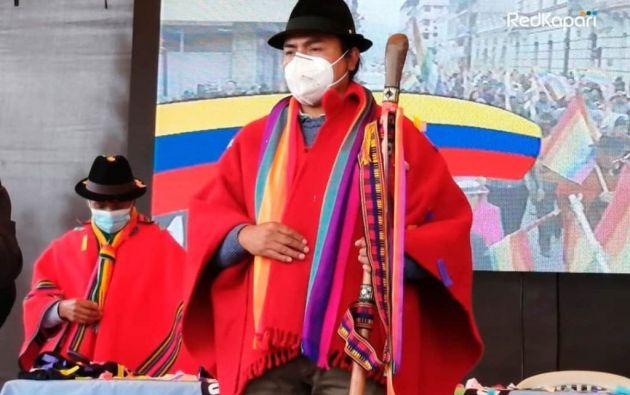 """Leonidas Iza, presidente del Movimiento Indígena y Campesino de Cotopaxi, reconoció que el proceso electoral ha fraccionado sus bases, pero que mantienen el """"voto nulo ideológico""""."""