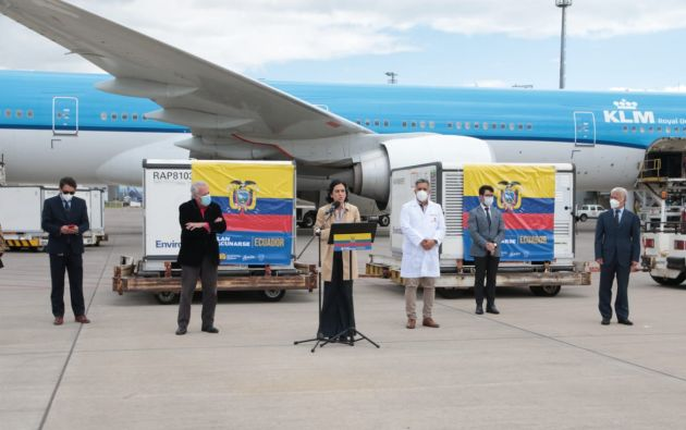 La carga llegó al aeropuerto de Quito. Foto: API