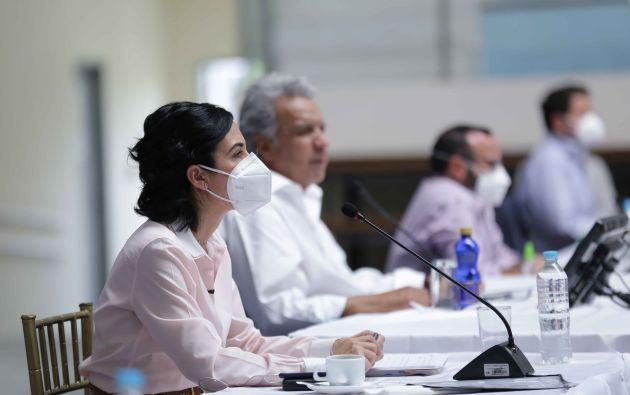"""""""El archipiélago quedaría inmunizado totalmente antes de irnos"""", dijo la vicepresidenta, María Alejandra Muñoz. Foto: Presidencia"""