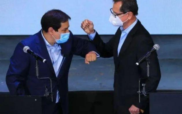 excandidatos Andrés Arauz y Carlos Rabascall de la Alianza UNES.