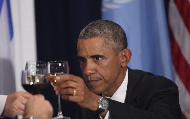 El presidente estadounidense, Barack Obama, asiste a un almuerzo de alto nivel en el marco de la 69 Asamblea General de la ONU. Foto: EFE