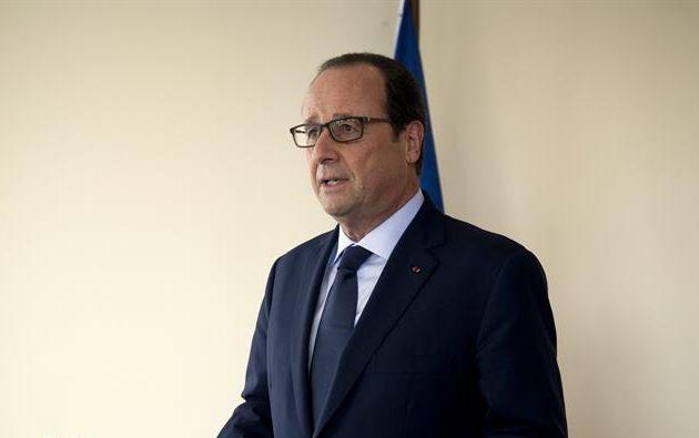El presidente francés, Francois Hollande, habla durante una rueda de prensa en la sede de la ONU en Nueva York (EE.UU.) hoy, miércoles 24 de septiembre de 2014. Foto: EFE